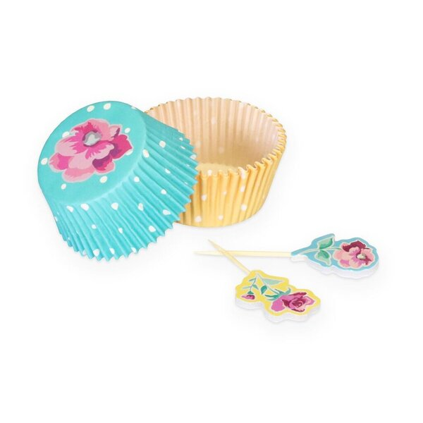 Chittening 24 Piece Cupcake Case and Pick Floral Set by Mint Pantry