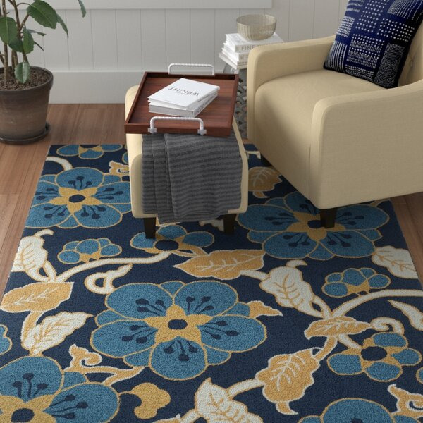 Doyle Navy/Yellow Floral and Plant Area Rug by Winston Porter