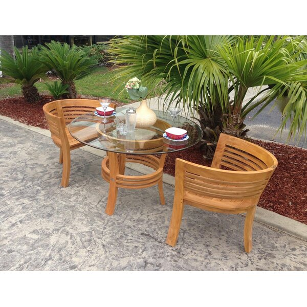 Meyer Half Moon 3 Piece Teak Bistro Set by Bay Isle Home