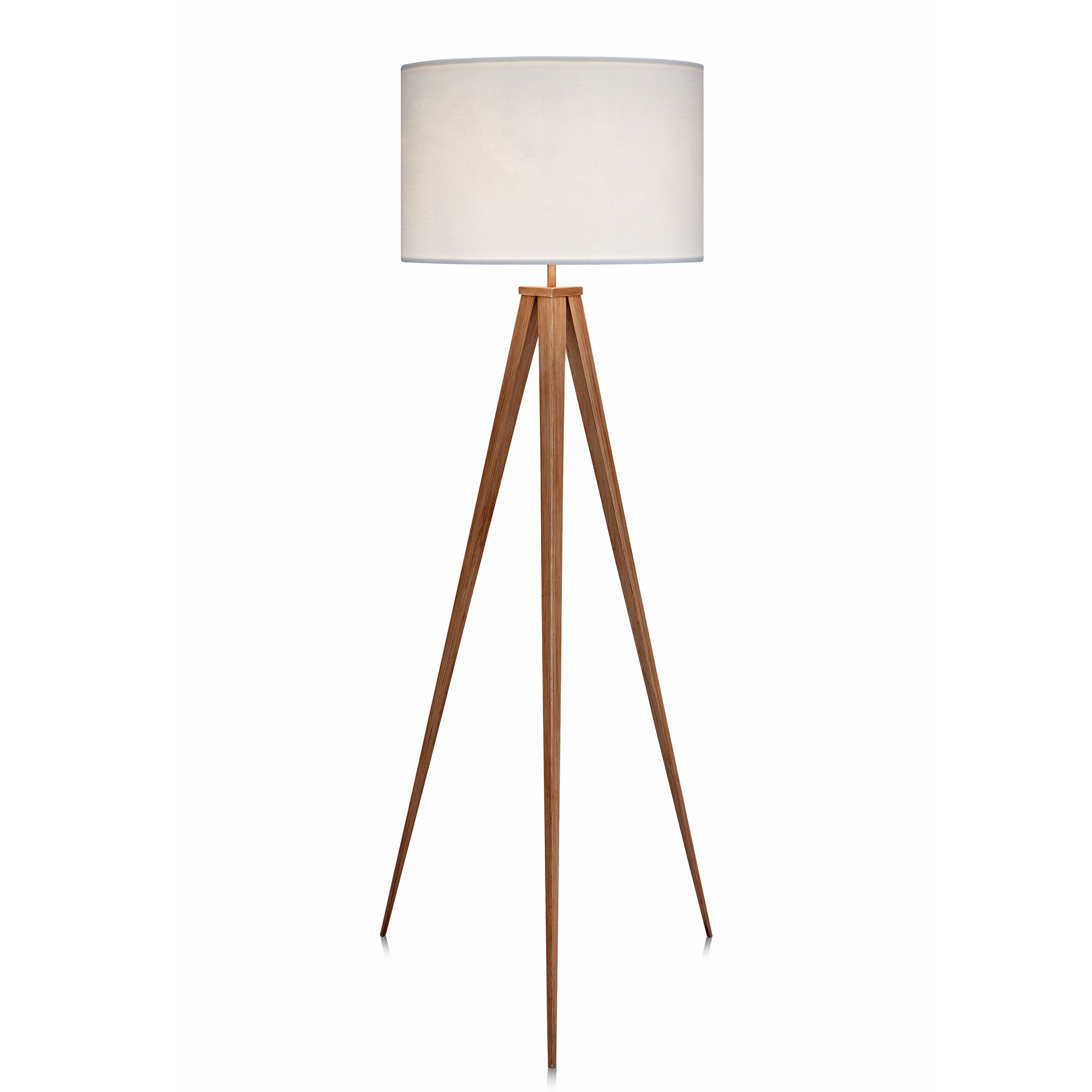 Floor Lamps Torchieres Lighting Modern Copper Metal Tripod Floor Lamp With A Beige Cylinder Shade