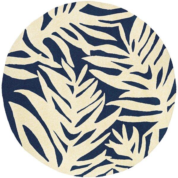 Amberjack Palms Hand-Woven Navy/Beige Indoor/Outdoor Area Rug by Bay Isle Home