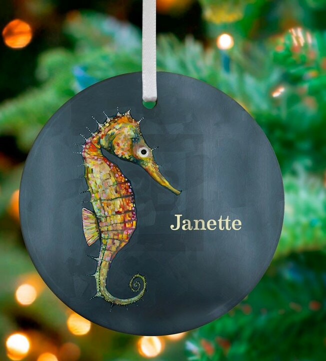 Oopsy Daisy Floating Seahorse Personalized Ornament by Eli Halpin | Wayfair - Oopsy Daisy Floating Seahorse Personalized Ornament By Eli Halpin