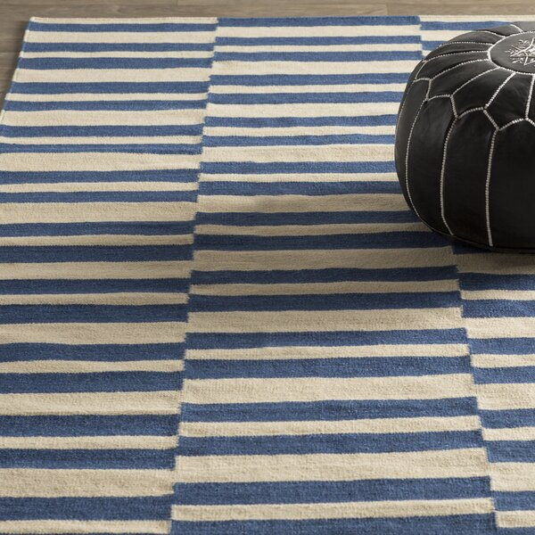 Cory Geometric Navy/Ivory Area Rug by Wade Logan