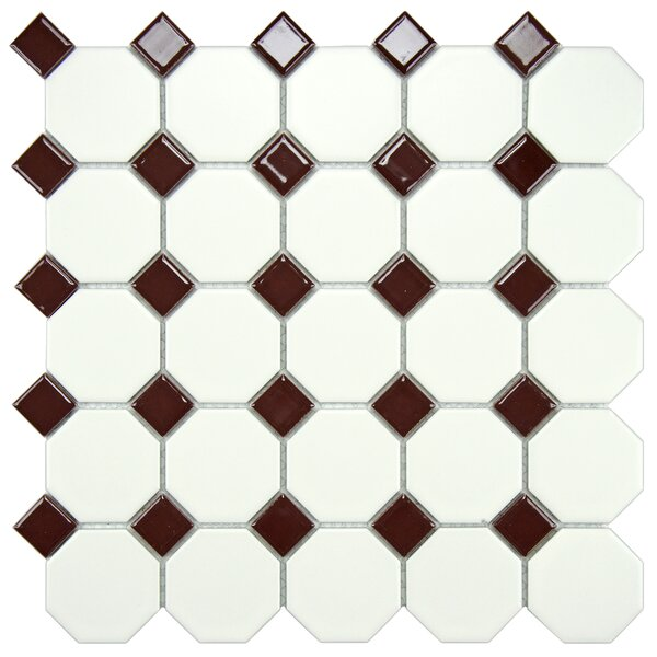 Retro Random Sized Porcelain Mosaic Tile in Matte White/Burgundy by EliteTile