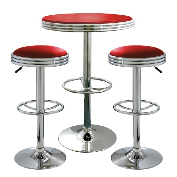 Southampton Retro Sode Shop 3 Piece Pub Table Set by Latitude Run Latitude Run