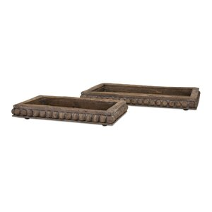 Traditional 2 Piece Wooden Decorative Trays