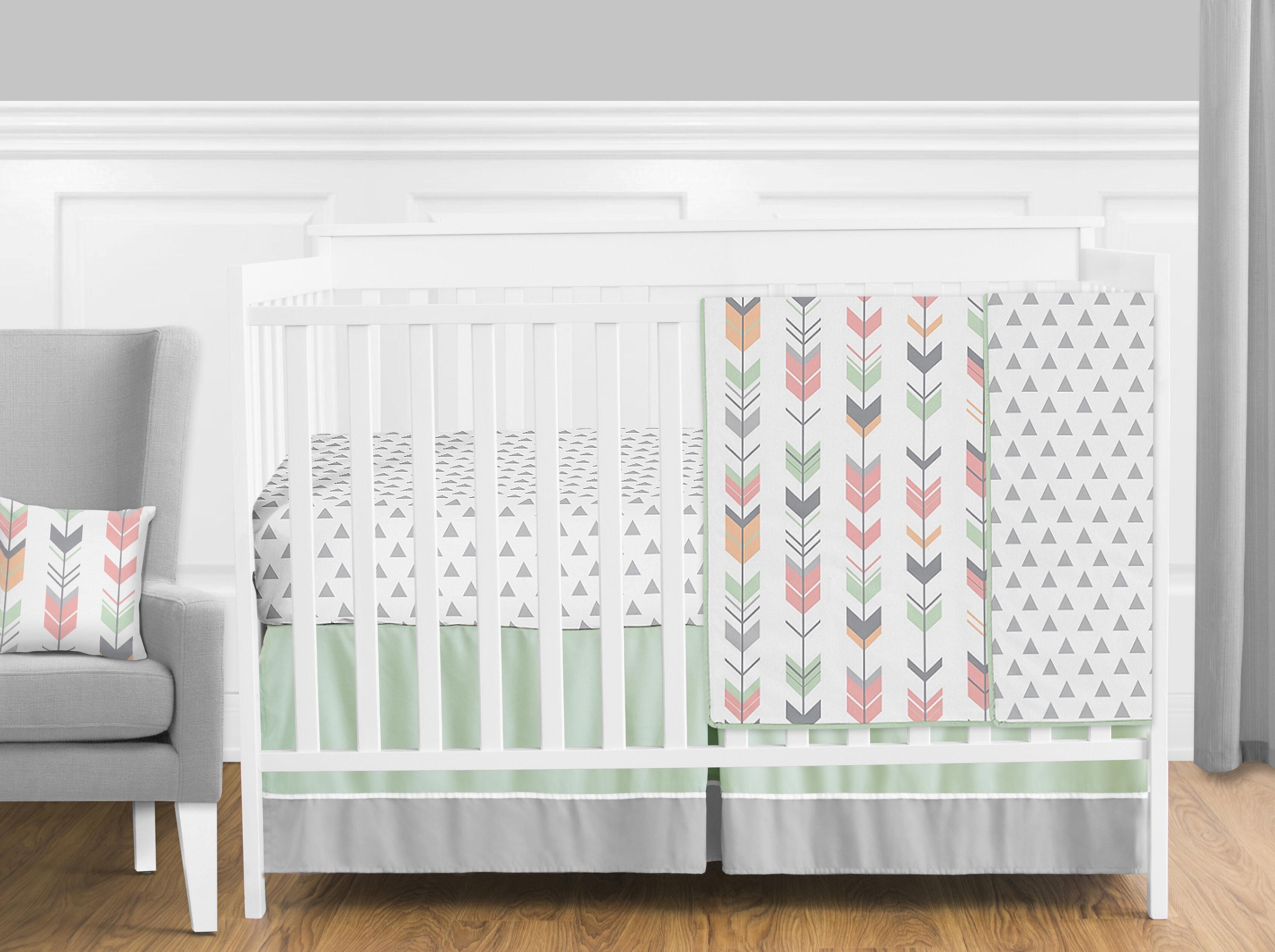 Grey /& Navy Baby Girl Crib Bedding 11 Piece Nursery Set Floral Dot Coral
