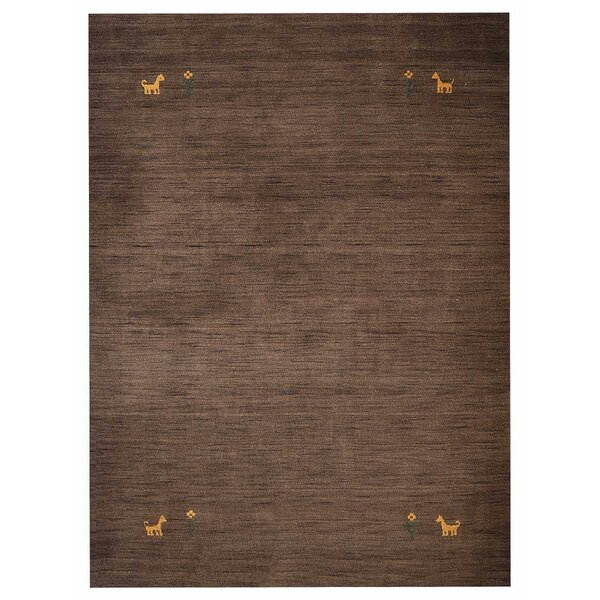 Amalia Hand-Knotted Wool Brown Area Rug by Bloomsbury Market