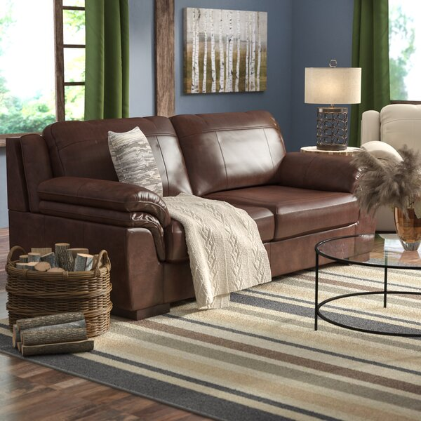 Last Trendy Braeden Leather Sofa by Loon Peak by Loon Peak
