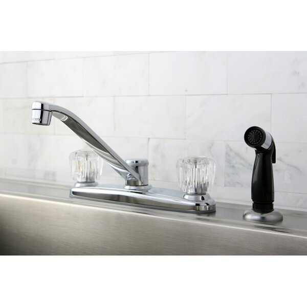 Americana Double Handle Kitchen Faucet with Side Spray by Kingston Brass Kingston Brass
