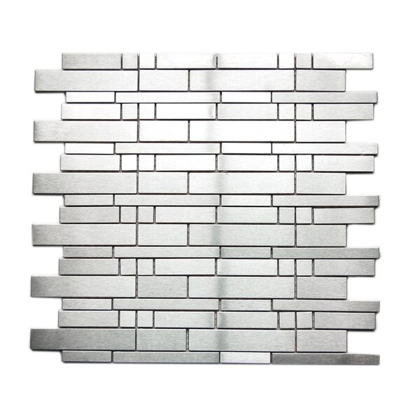 Random Sized 11.7 x 11.7 Metal Mosaic Tile in Silver by Eden Mosaic Tile