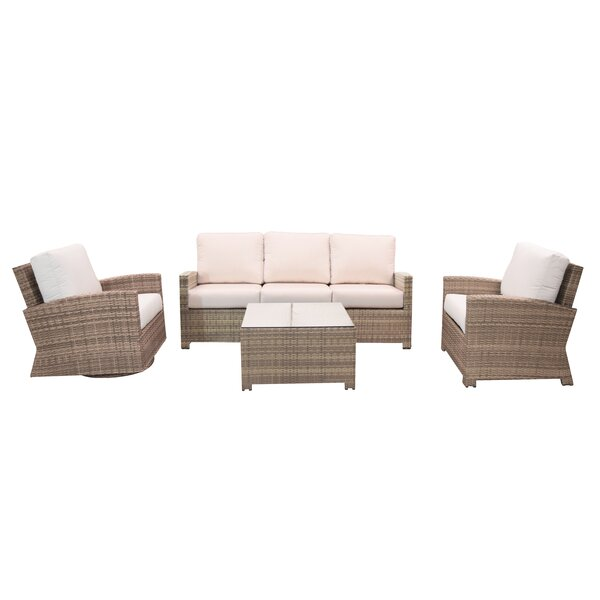Norfolk 4 Piece Sunbrella Deep Seating Group with Cushions by Rosecliff Heights