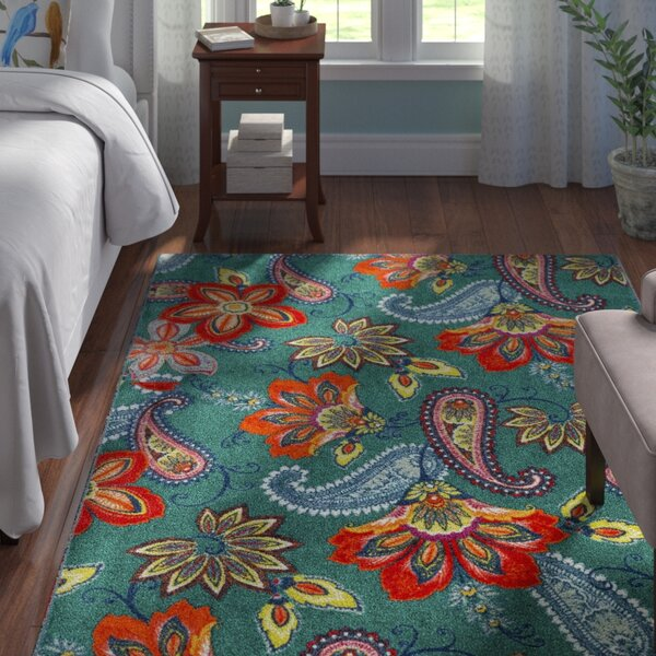 Hammond Green/Orange Area Rug by Andover Mills