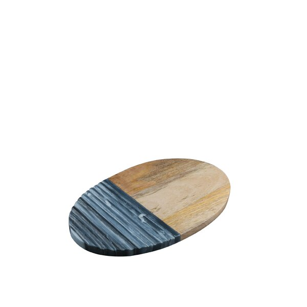 Marble and Mango Wood Oval Platter with Ridges by Patina Vie