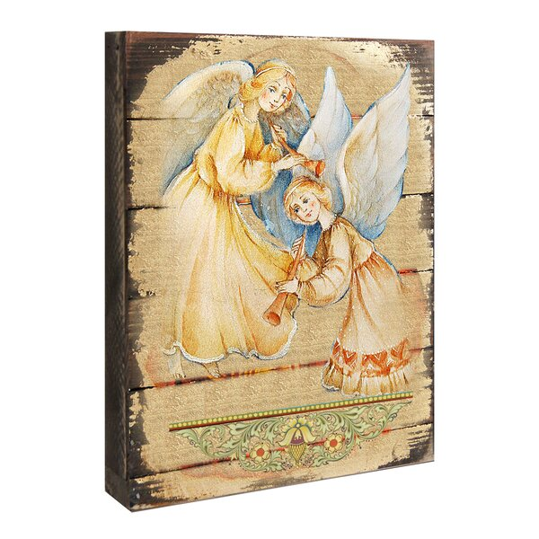 Inspirational Icon Angels Watching Over You Wooden Painting Print by G Debrekht