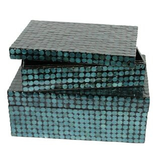 Compare prices 2 Piece Capiz Shell on MDF Storage Box Set By ESSENTIAL DÉCOR & BEYOND, INC