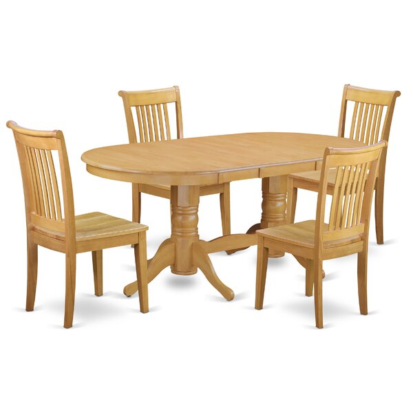 Daniella 5 Piece Extendable Solid Wood Dining Set by Alcott Hill