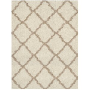 High Quality Shag Ivory/Beige Area Rug