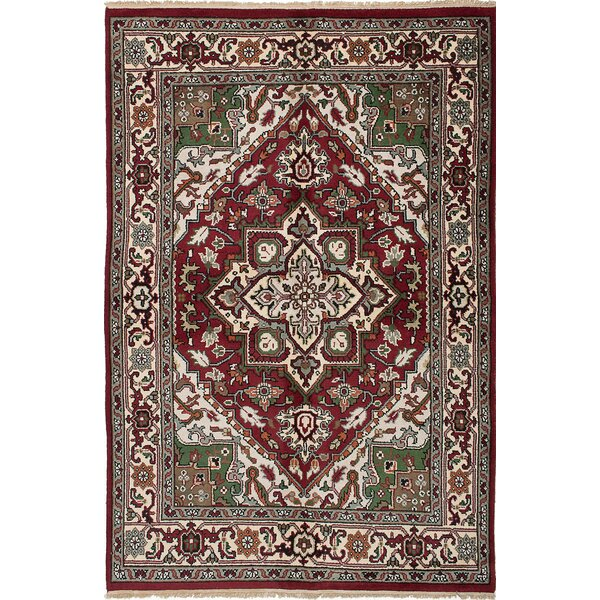 One-of-a-Kind Grullon Hand-Knotted Red/Cream Area Rug by Isabelline