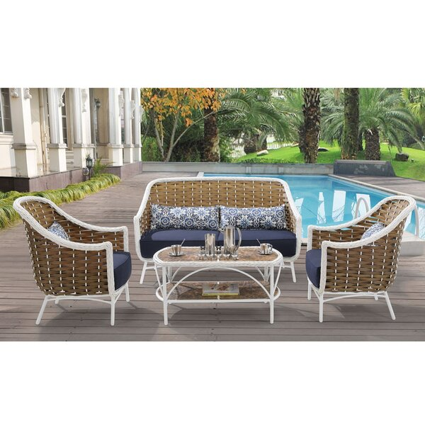 Central City 4 Piece Sofa Set with Cushions by Bungalow Rose