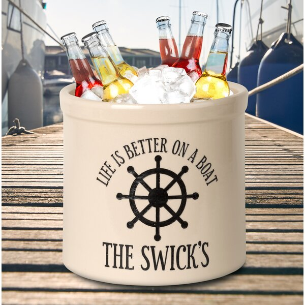Clarkston Personalized Life Is Better On A Boat Ceramic Pot Planter by Breakwater Bay
