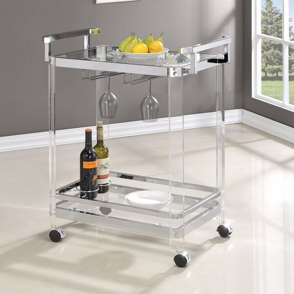 Linch Stylish Metal Base Bar Carts by Rosdorf Park