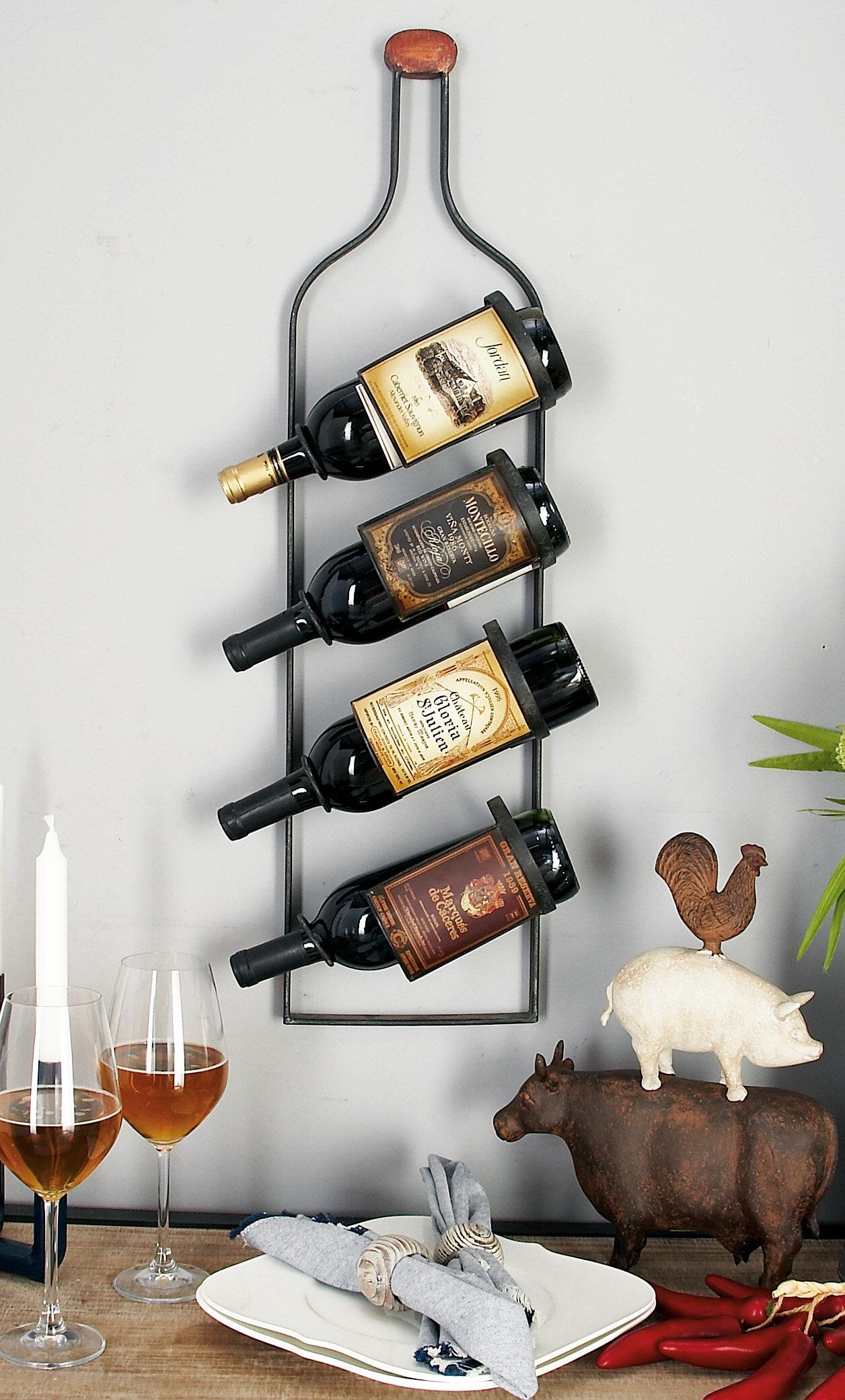 Cole Grey 4 Bottle Wall Mounted Wine Rack Reviews Wayfair