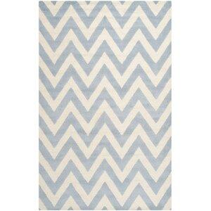 Charlenne Hand-Tufted Wool Light Blue/Ivory Area Rug