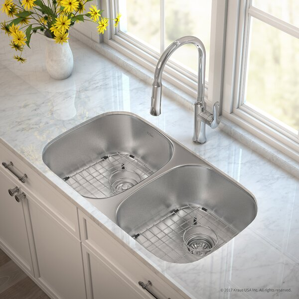 Outlast MicroShield™ Stainless Steel Real 16 Gauge 32.25 x 18 Double Basin Undermount Kitchen Sink with Faucet by Kraus