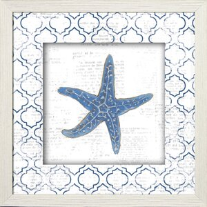 'Starfish Shell on Newsprint' Framed Painting Print by Beachcrest Home