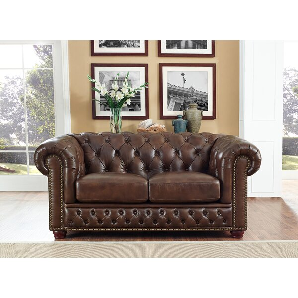 Modern Style Worcester Leather Chesterfield Loveseat by Trent Austin Design by Trent Austin Design