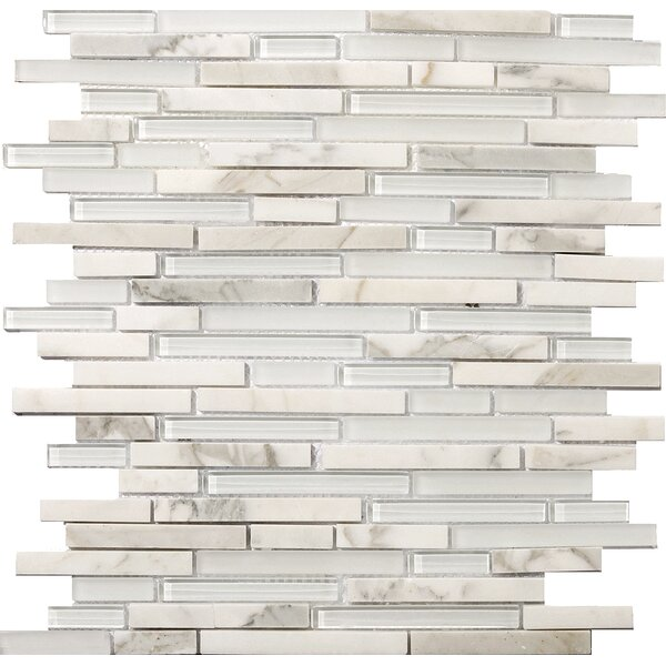 Lucente 12 x12 Glass Stone Blend Linear Mosaic Tile in Ambrato by Emser Tile