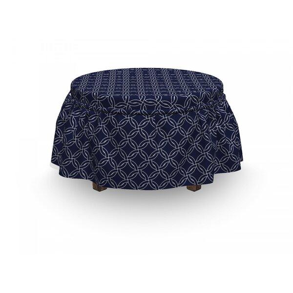 Marine Circles Motif 2 Piece Box Cushion Ottoman Slipcover Set By East Urban Home