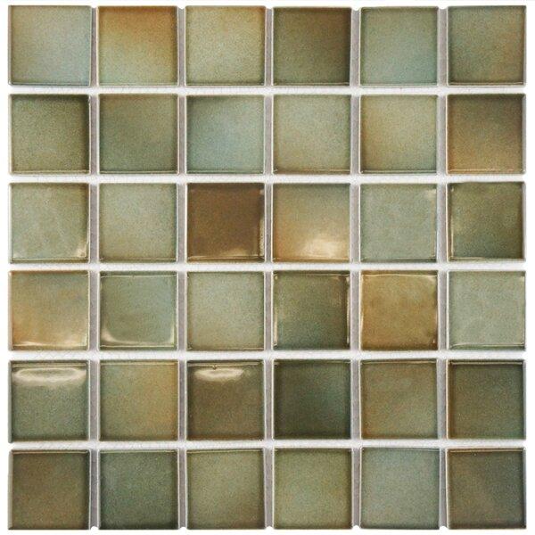 Arthur 2 x 2 Porcelain Mosaic Tile in Green/Brown by EliteTile