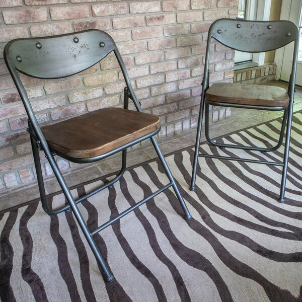 Fortier Vintage Wood Seat Folding Chairs (Set of 2) by Laurel Foundry Modern Farmhouse