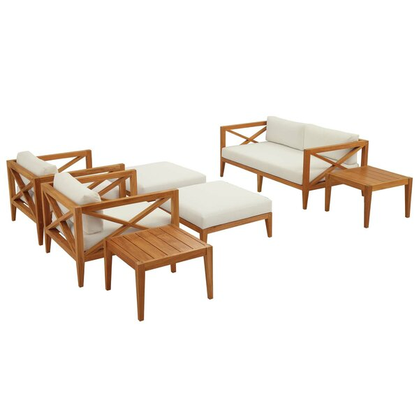 Dowell Premium Grade A 7 Piece Teak Sofa Seating Group with Cushions by Breakwater Bay