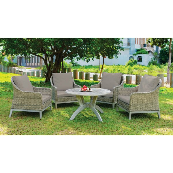 Fatima 5 Piece Patio Dining Set with Cushions by Rosecliff Heights