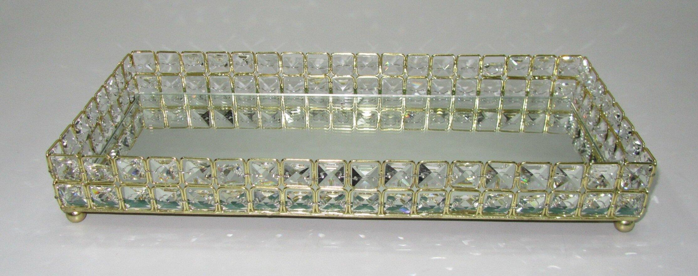 ebay footed crystal tray holder w vanity en lion gold claw buy us dresser brass gilt depression
