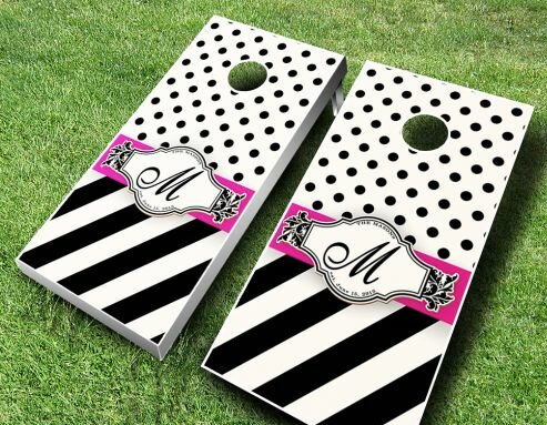 Wedding Ribbon Cornhole Set by AJJ Cornhole