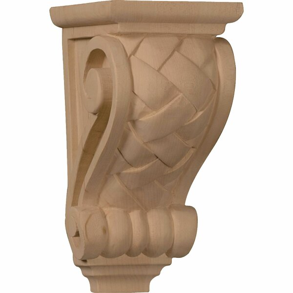 7H x 3 1/2W x 4D Small Basket Weave Corbel in Red Oak by Ekena Millwork
