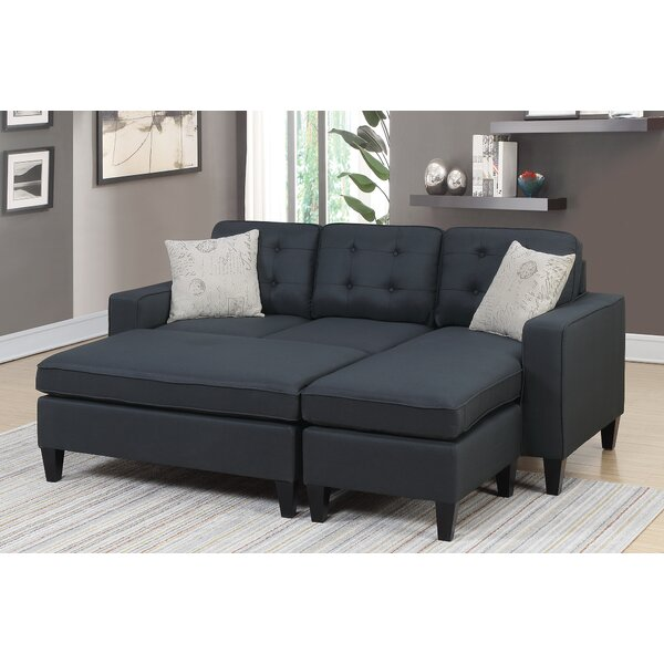 New Trendy Ellensburg Reversible Sectional with Ottoman by Ebern Designs by Ebern Designs