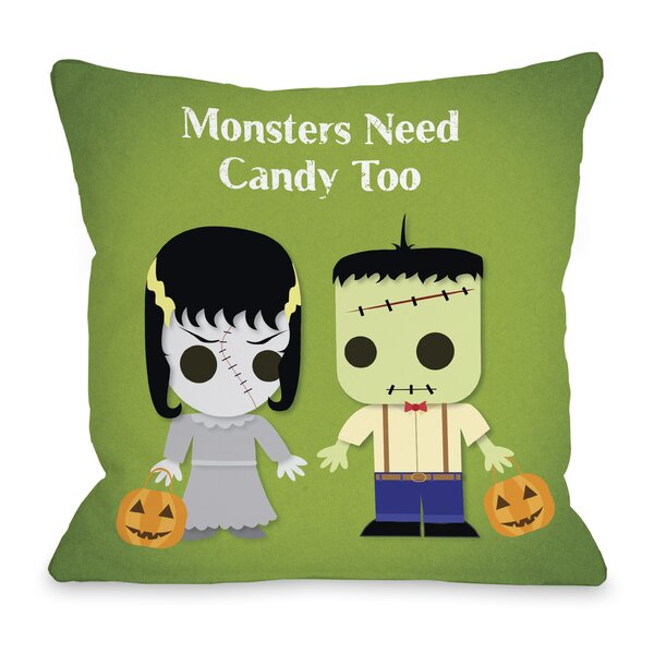 Monsters Need Candy Too Throw Pillow by One Bella Casa