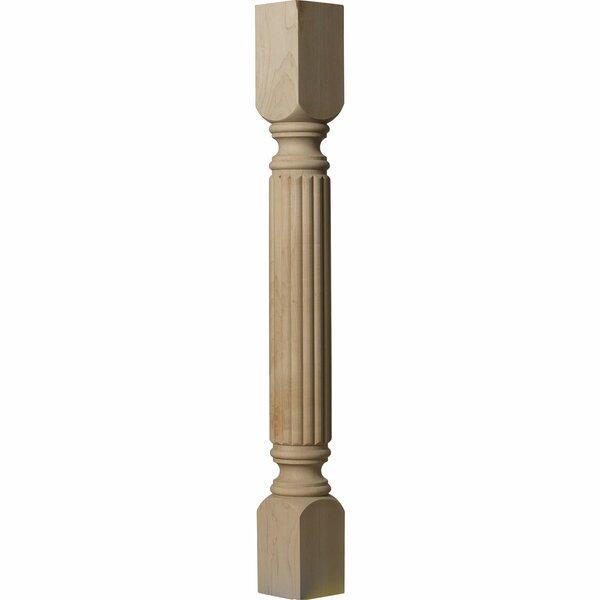 Raymond Reeded 35 1/2H x 3 3/4W x 3 3/4D Cabinet Column in Rubberwood by Ekena Millwork