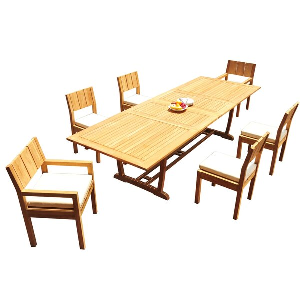 Shoup 7 Piece Teak Dining Set by Rosecliff Heights