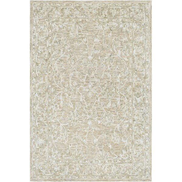 Jambi Traditional Hand-Tufted Wool Tan Area Rug by Ophelia & Co.