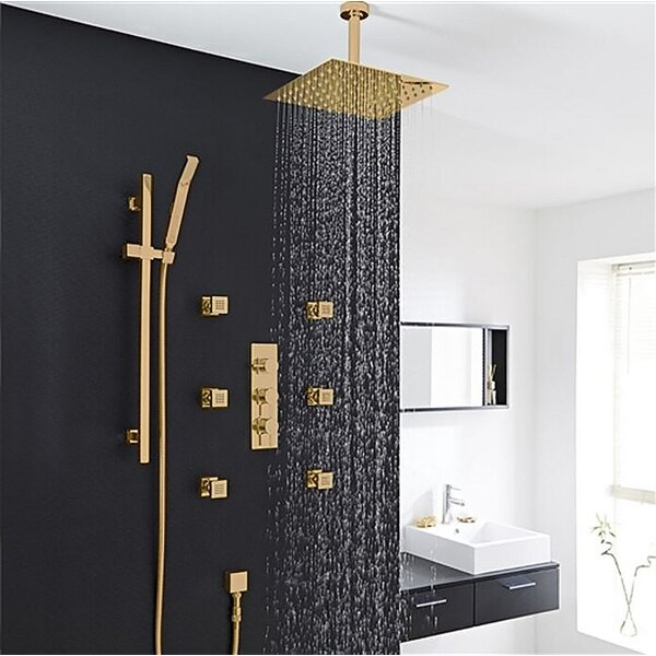 Rainfall Thermostatic Complete Shower System With Rough-in-Valve By FontanaShowers