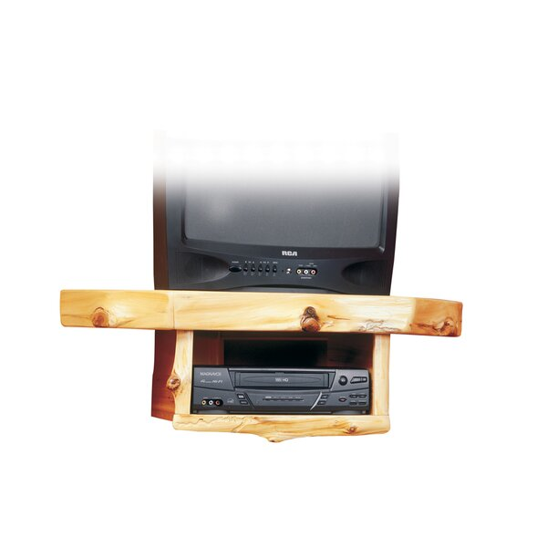 Traditional Cedar Log Shelf Fixed Corner Mount for up to 32 CRT TV by Fireside Lodge