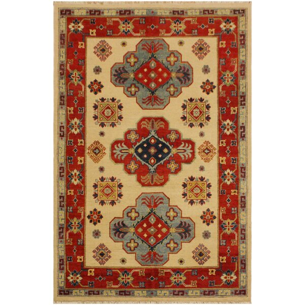 One-of-a-Kind Silas Kazak Hand-Knotted Wool Ivory/Red Area Rug by Astoria Grand