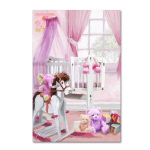 'Baby Girl's Cot' Print on Wrapped Canvas by Harriet Bee