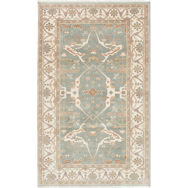 One-of-a-Kind Doggett Hand Knotted Wool Light Turquoise Area Rug by Isabelline
